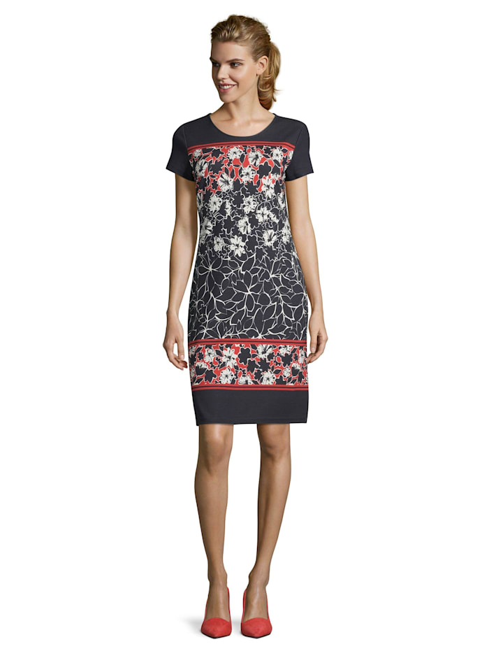 Betty Barclay Jerseykleid mit Blumenprint, Dark Blue/Red