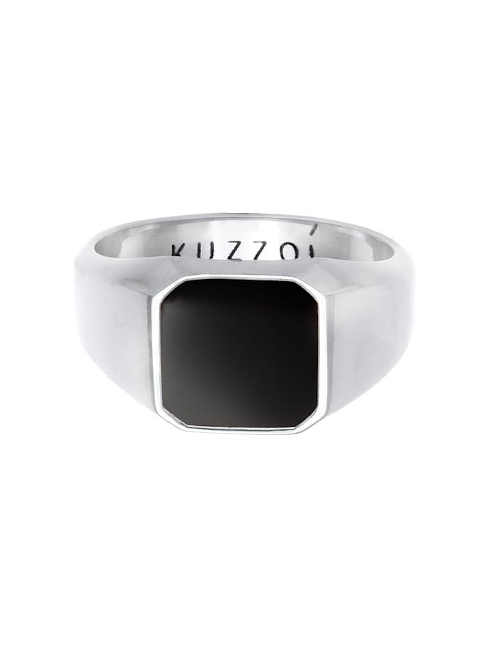 Ring Herren Siegelring Emaille Schwarz Basic 925 Silber