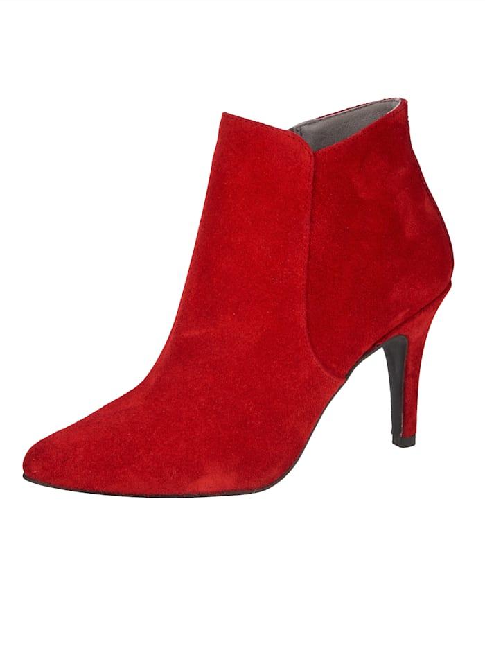 Stiefelette aus hochwertigem Veloursleder, Rot