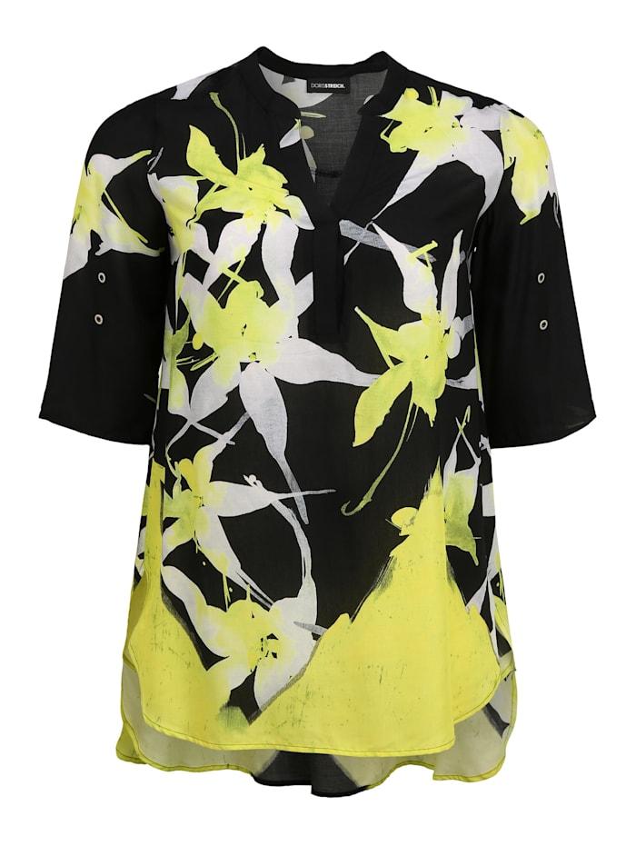 Doris Streich Bluse mit Allover-Muster, schwarz/weiß