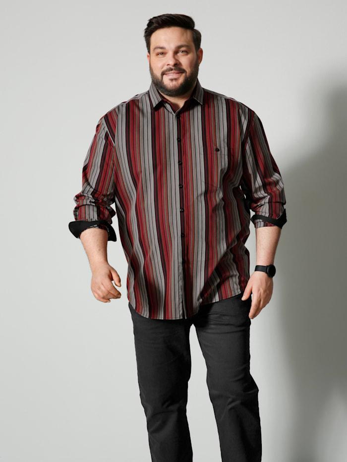 Men Plus Hemd Spezialschnitt, Schwarz/Rot