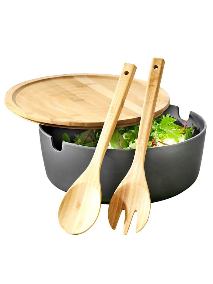 Esmeyer Service à salade 4 pièces, Anthracite/marron