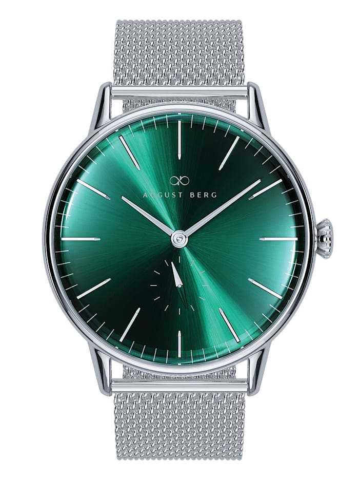August Berg Uhr Serenity Greenhill Silver Eye Silver Mesh 40mm, sunray green