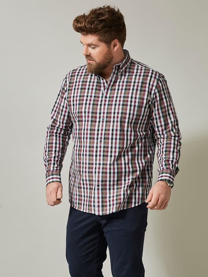 Men Plus Hemd, Marineblau/Bordeaux/Oliv