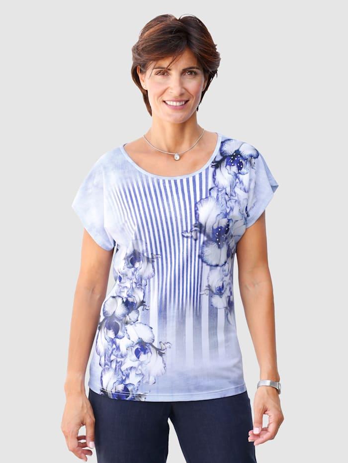 Paola Shirt mit exklusivem Druckdessin, Royalblau/Weiß