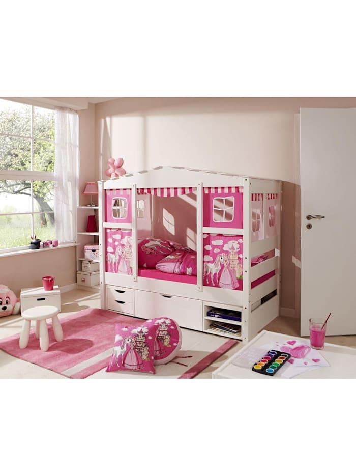 """Ticaa Hausbett Mini mit Bettkasten """"Horse Pink"""" Kiefer Weiß, Weiß"""