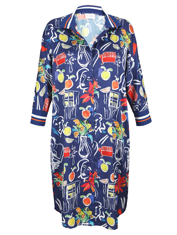 AMY VERMONT Kleid mit außergewöhnlichen Druck, Blau/Multicolor