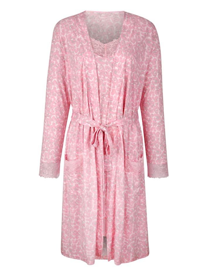 Simone Ensemble robe de chambre + nuisette à dentelle élégante, Rose/Rose clair/Gris