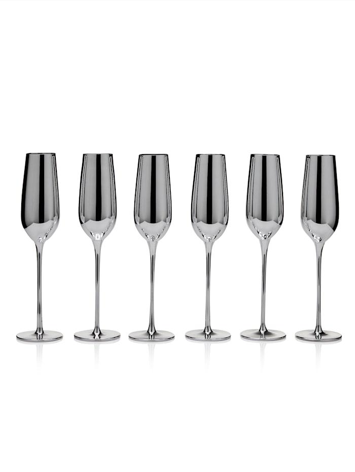 IMPRESSIONEN living Glas-Set, 6-tlg., silberfarben, Sektglas-Set