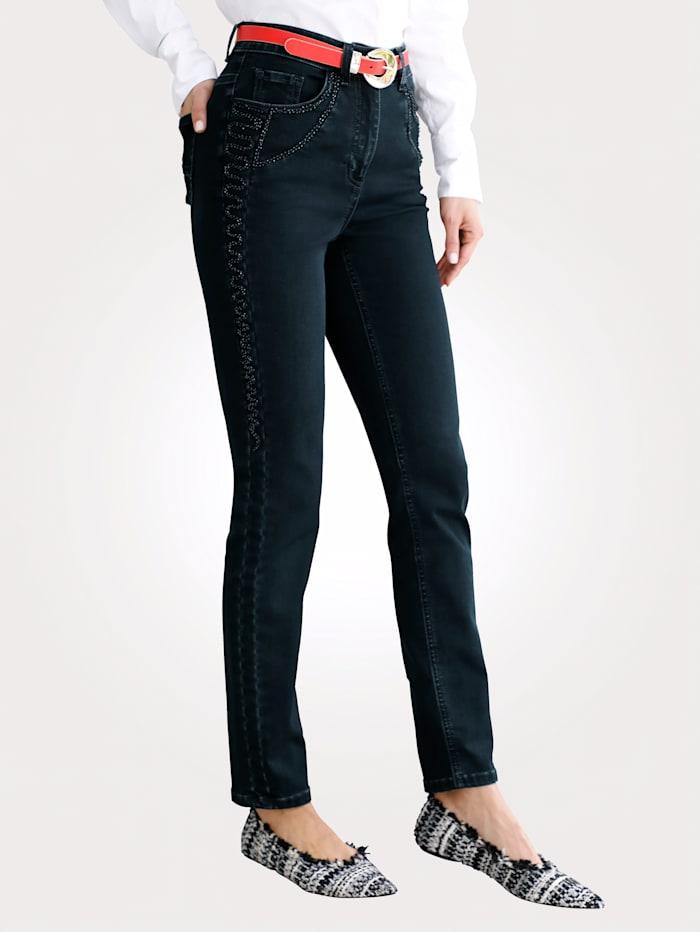 MONA Jeans met ton-sur-ton borduursel, Donkerblauw