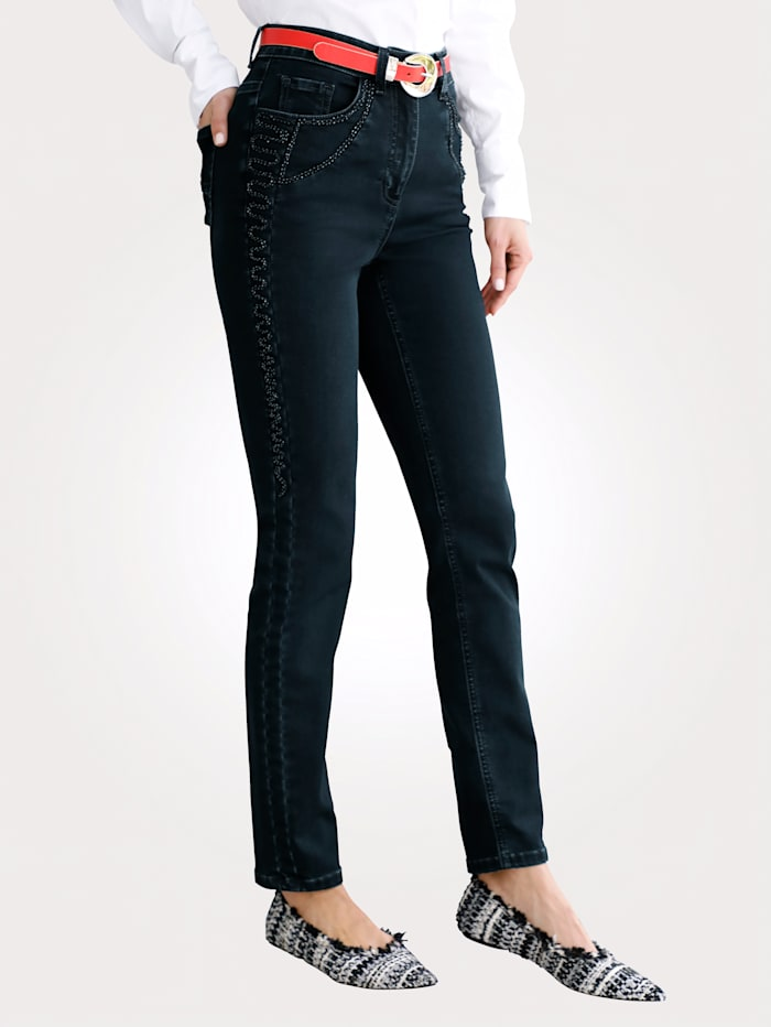 MONA Jeans with tonal embroidery, Dark Blue