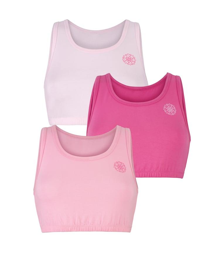 Blue Moon Bustier aus PIMA Cotton - Qualität 3er Pack, 1x hellrose, 1x rosa, 1x pink