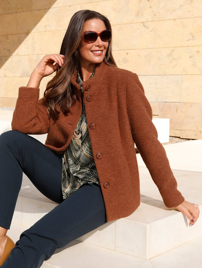 MIAMODA Veste en laine mélangée de qualité, Orange
