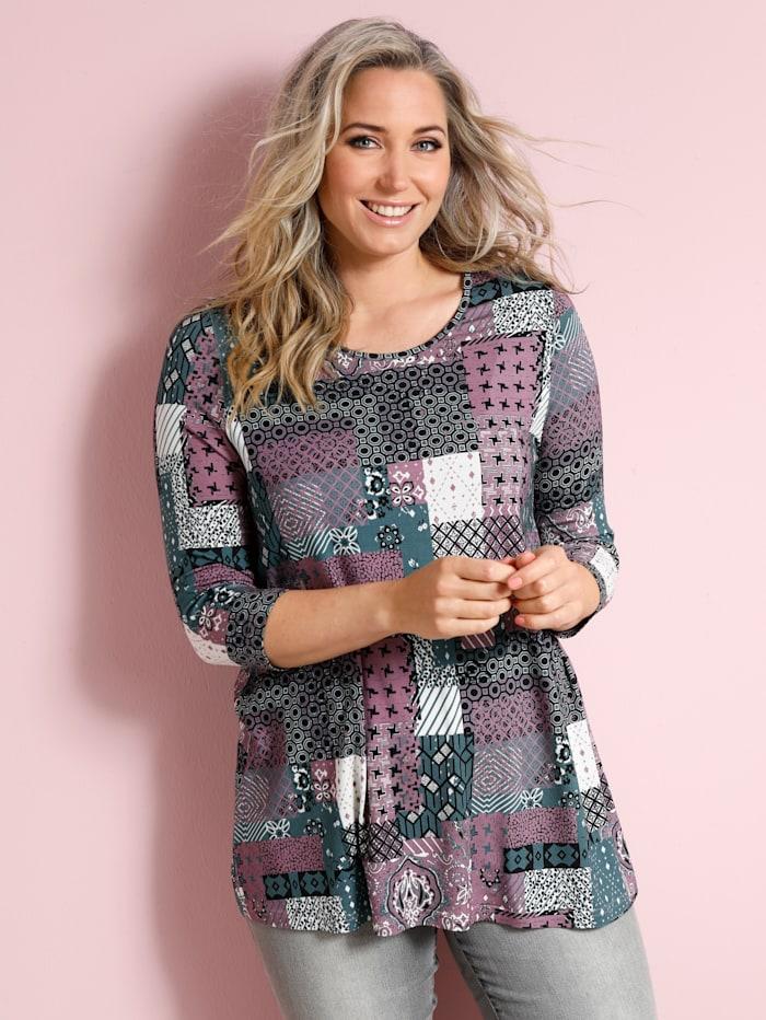 MIAMODA Shirt mit tollem Farbmix, Rosé/Grün