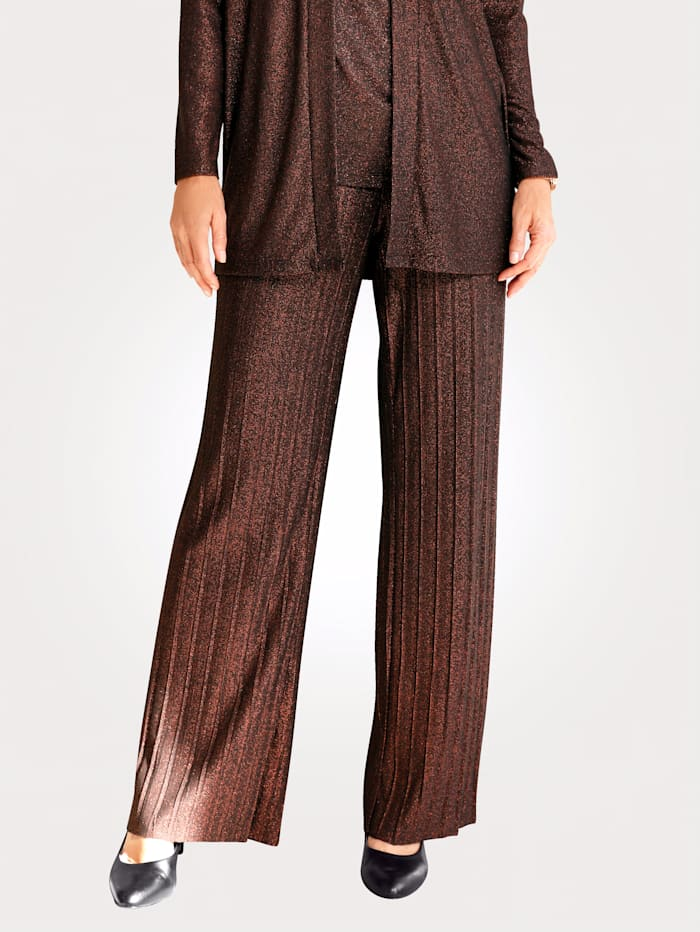 MONA Trousers in a pleated fabric, Copper