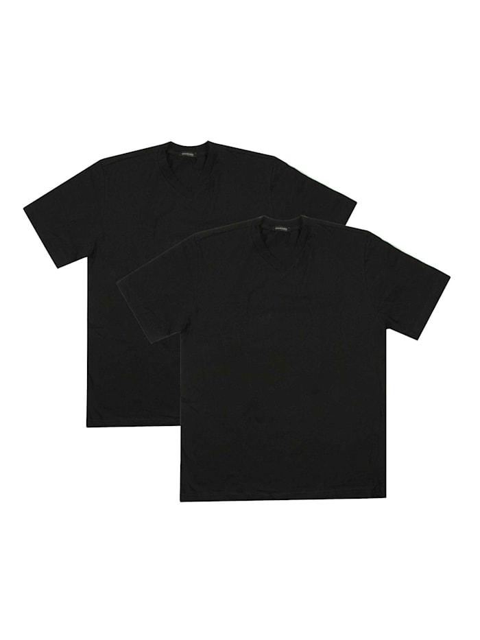 Schiesser V-Neck Shirt im Doppelpack, schwarz