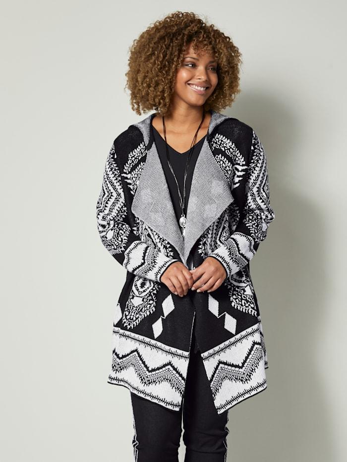 Angel of Style Sveter s károvaným vzorom, Čierna/Prírodná biela