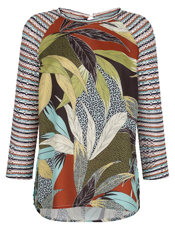 Alba Moda T-shirt avec manches en jersey ajouré, Multicolore