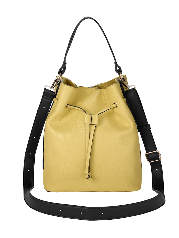 LOUIZ & LOU Mechová kabelka s kontrastními pruhy, Žlutá/Černá