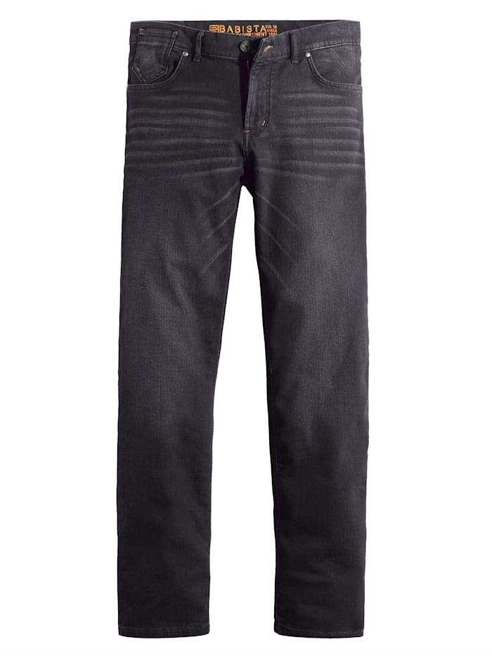 BABISTA Jog kalhoty zpohodlné sweat kvality džínového vzhledu, Černá
