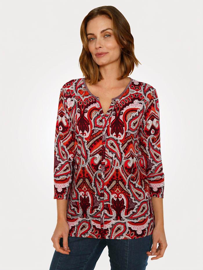 Paola Shirt mit grafischem Alloverdruck, Ziegelrot/Brombeere