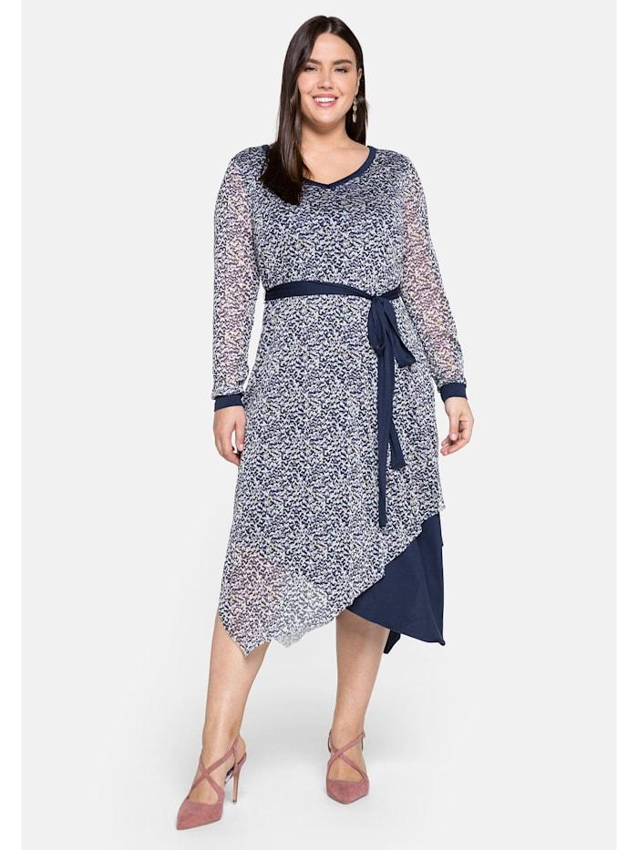 Sheego Sheego Kleid im Lagenlook, mit Zipfelsaum, weiß bedruckt