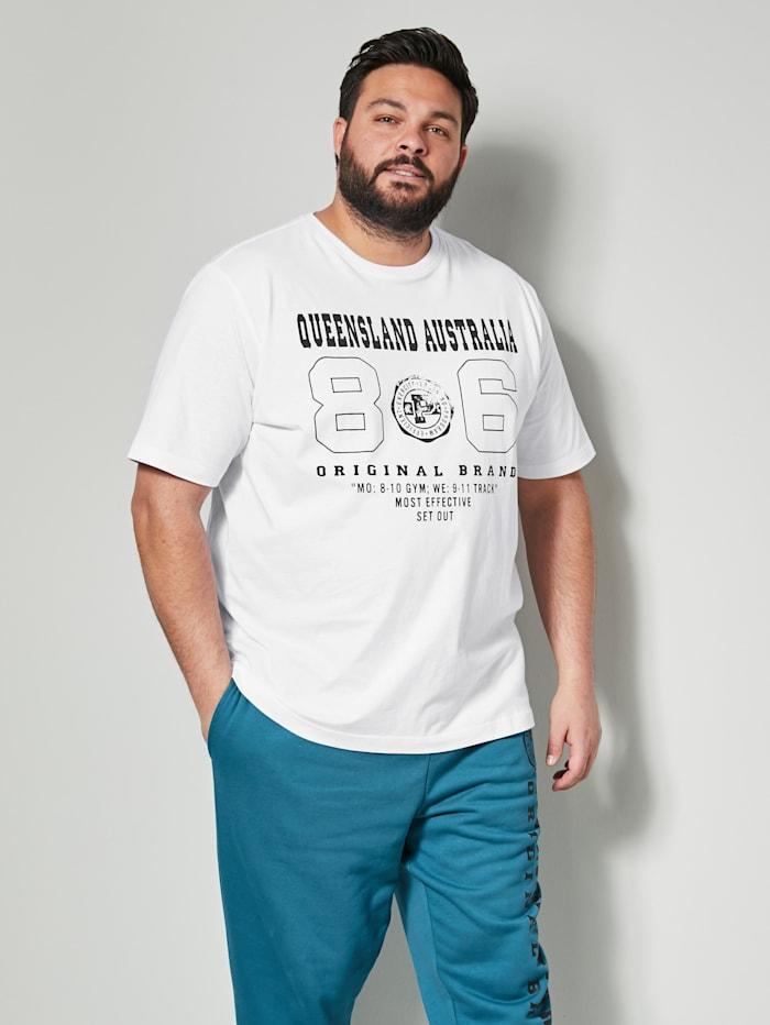 Men Plus T-Shirt aus reiner Baumwolle, Weiß/Schwarz