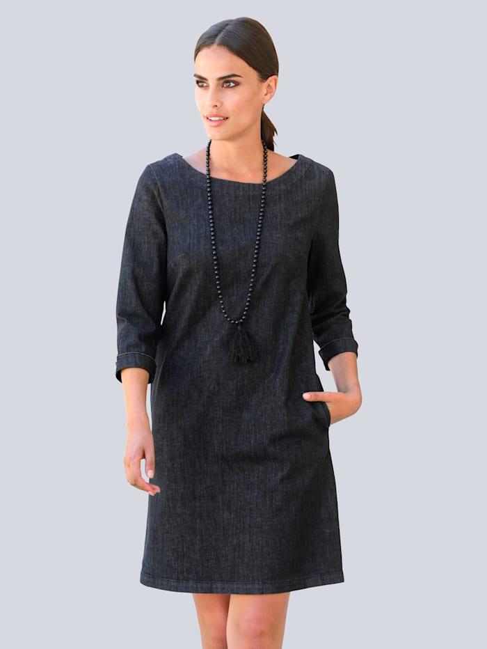 Alba Moda Robe en jean de coupe longue tendance, Noir