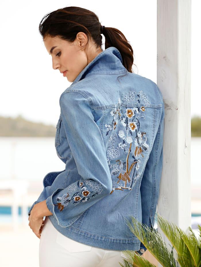 Jeansjacke mit dekorativer Stickerei