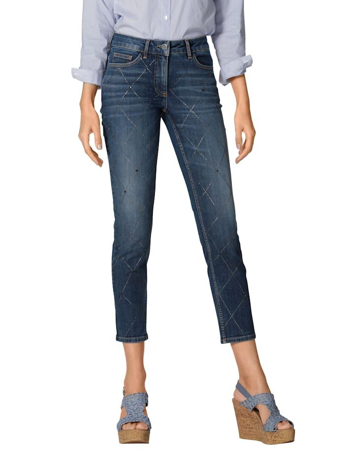AMY VERMONT Jeans met strassteentjes, Blue stone