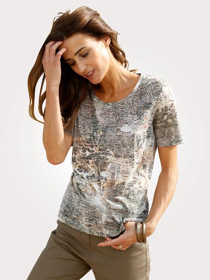 MONA Shirt mit dekorativem Druck, Oliv/Sand