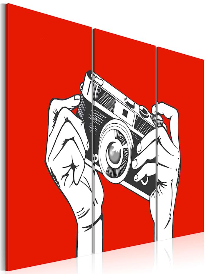 artgeist Wandbild A photographer, Schwarz,Rot,Weiß