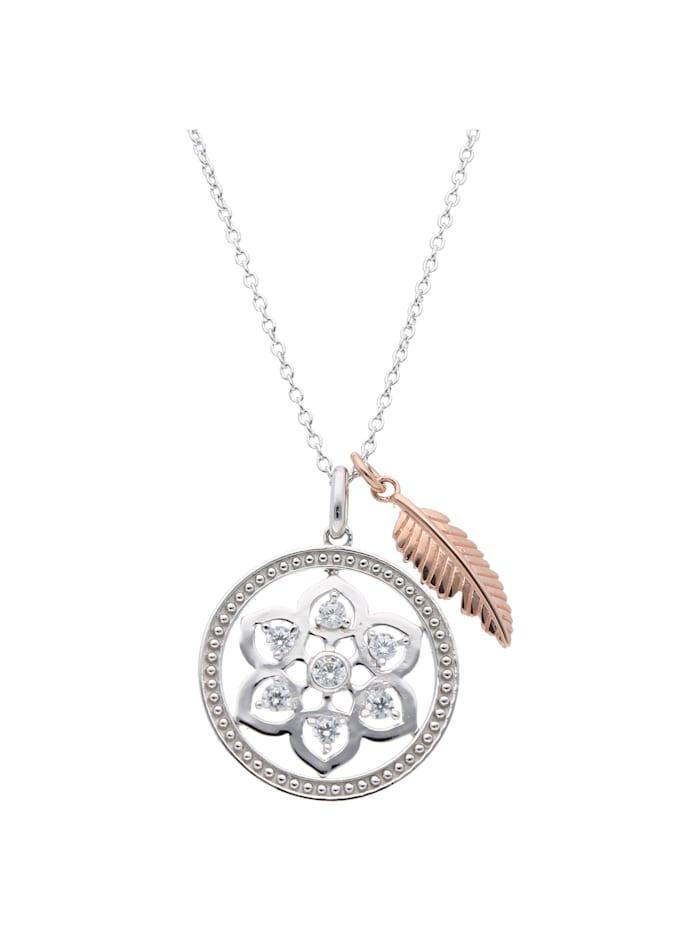 Smart Jewel Collier Traumfänger 2 teilig mit Zirkonia, Silber 925, Rosé vergoldet