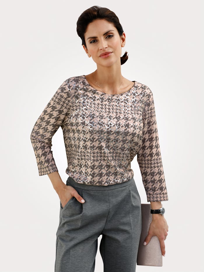 MONA Top with a houndstooth pattern, Grey/Rosé