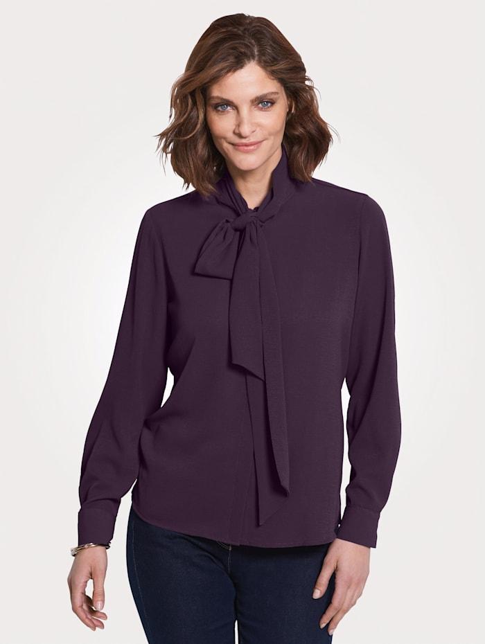 MONA Tie neck blouse in a versatile design, Purple