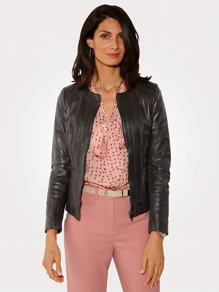 MONA Leather jacket made from nappa leather, Dark Brown