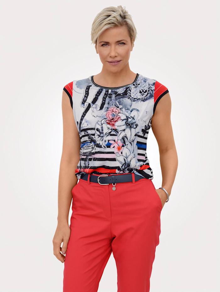MONA Shirt in Maritimer Optik, Marineblau/Weiß/Rot