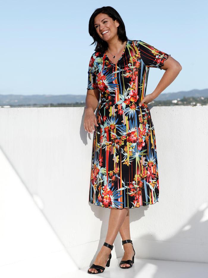 m. collection Jersey jurk met bloemendessin, Multicolor