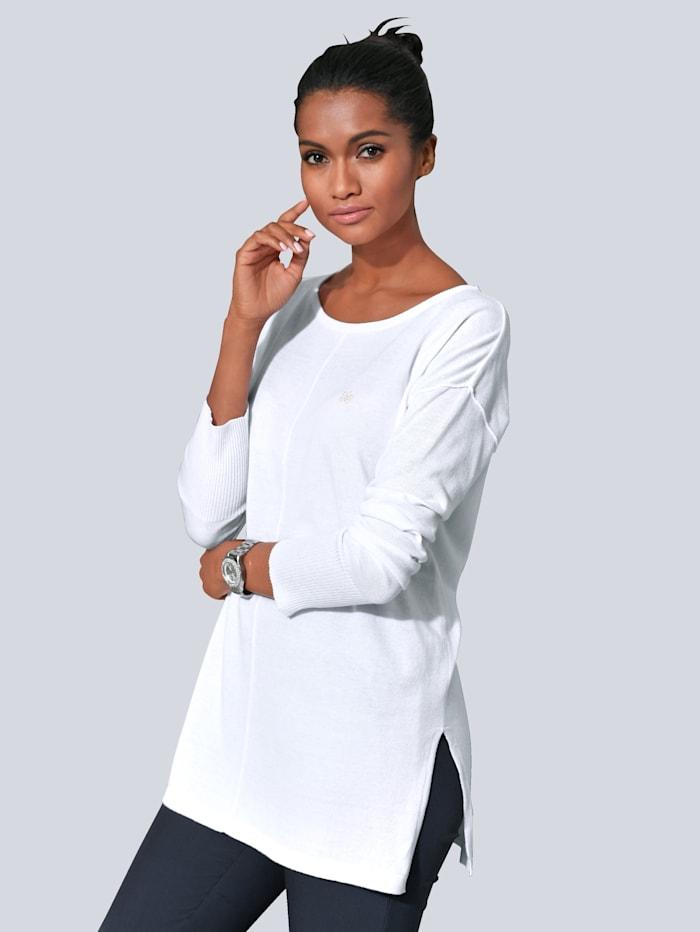 Alba Moda Pullover in softem Glattstrick, Weiß
