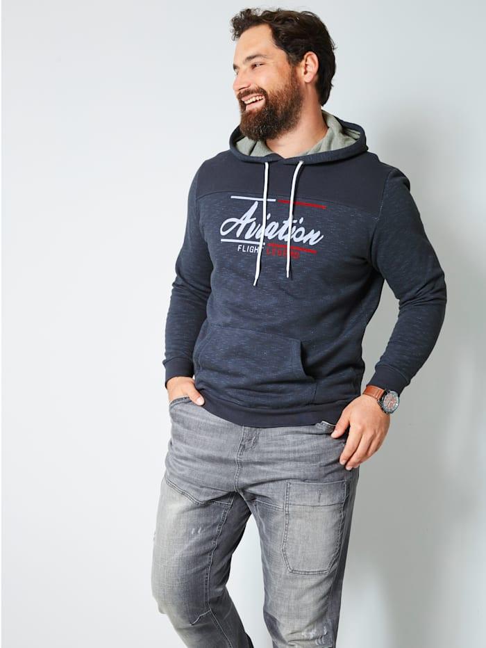Men Plus Kapuzensweatshirt mit Flockprint im Vorderteil, Marineblau/Hellblau