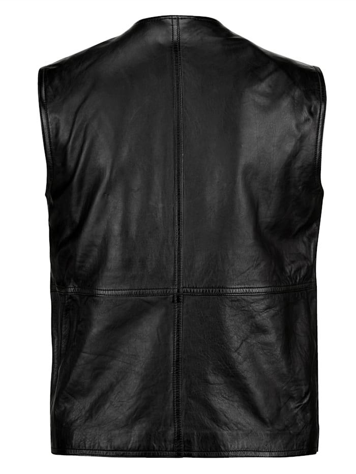 Gilet sans manches en cuir avec de nombreuses poches pratiques