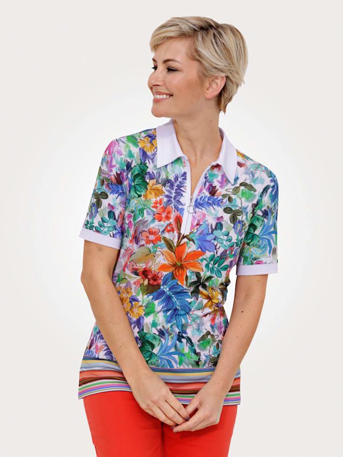 MONA Poloshirt mit vielfarbigem Floral-Druck, Ecru/Multicolor