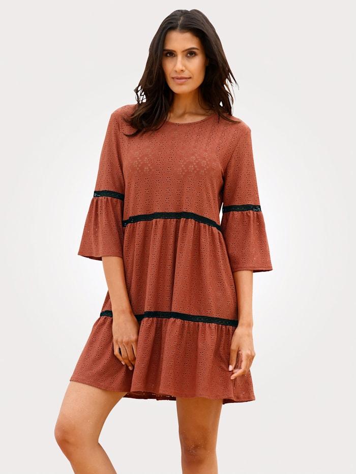 Cybèle Plážové šaty s celoplošnou kvetinovou výšivkou, Hrdzavá