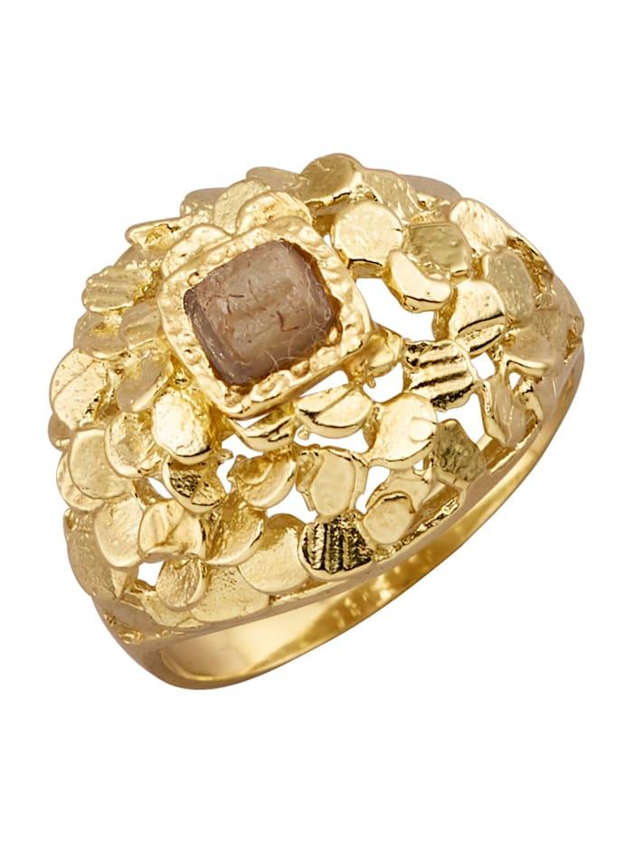 Amara Atelier Bague avec 1 diamant brut, Marron