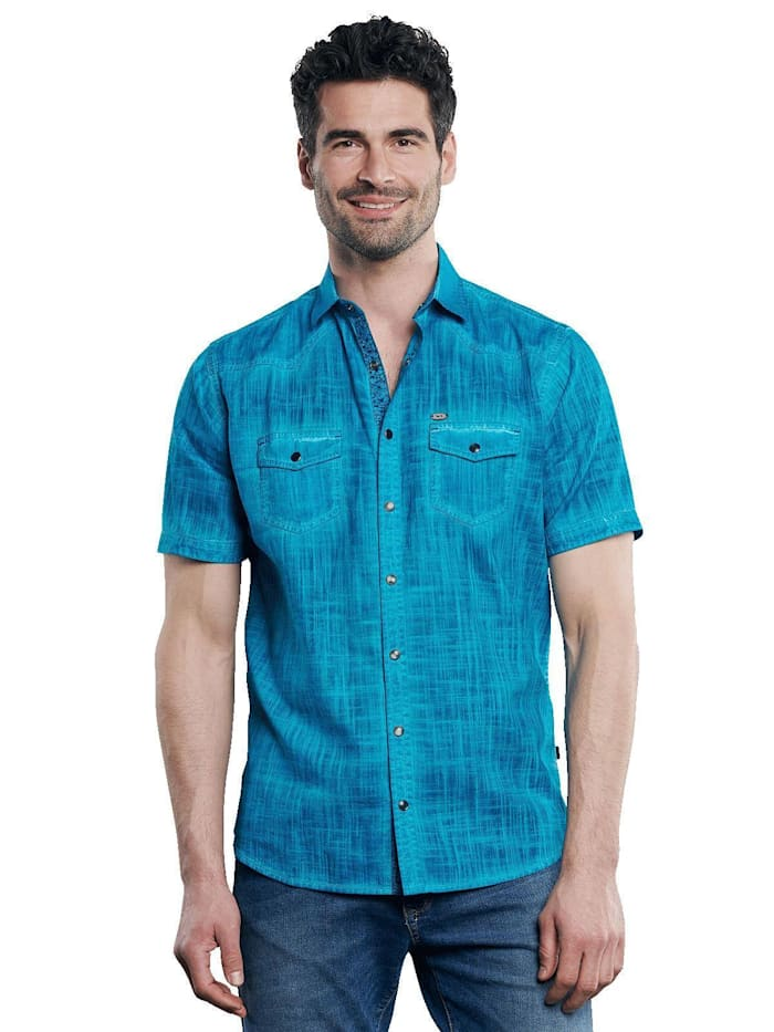 Engbers Kurzarm-Hemd aus Leinenmix, Wasserblau