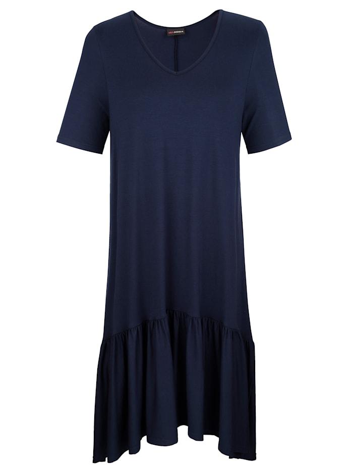 MIAMODA Röyhelösomisteinen mekko, Laivastonsininen