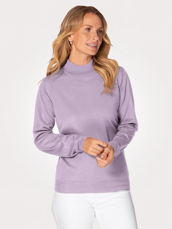 MONA Stehbund-Pullover mit Merino-Schurwolle, Lavendel