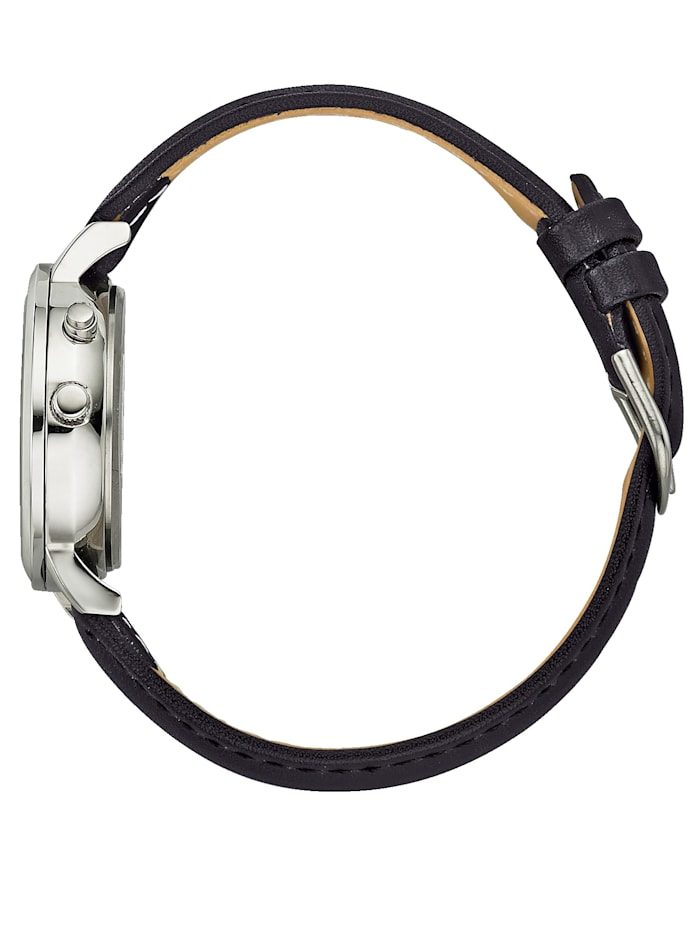 Damen-Funkuhr mit schwarzem Lederband