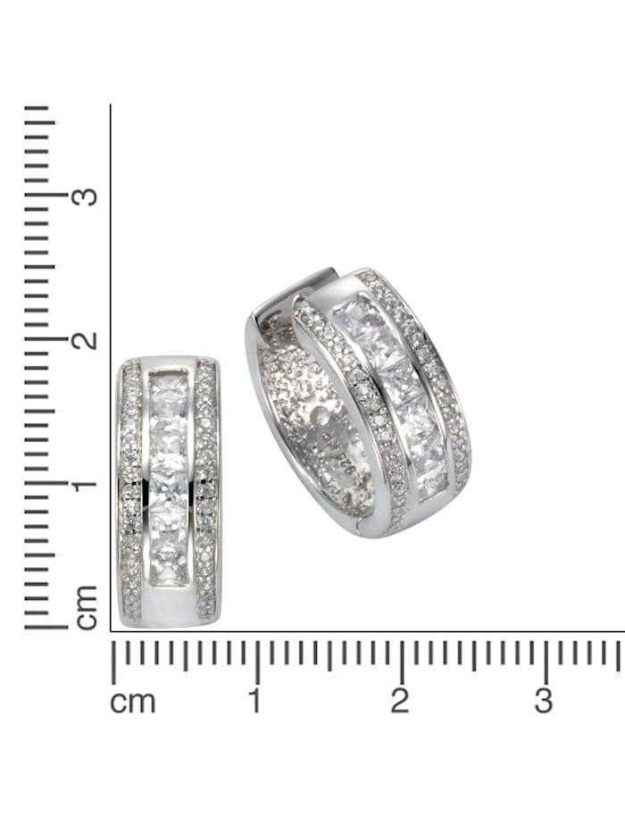 Creolen 925/- Sterling Silber Zirkonia weiß 1,9cm Glänzend 0,195 925/- Sterling Silber