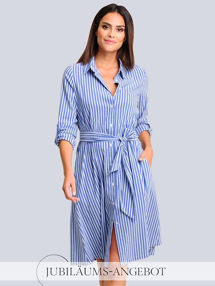 Alba Moda Kleid im Streifendessin allover, Blau/Weiß